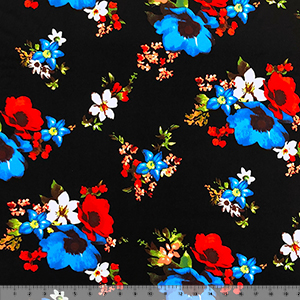 Royal Blue Red Painted Floral on Black Double Brushed Jersey Spandex Blend Knit Fabric