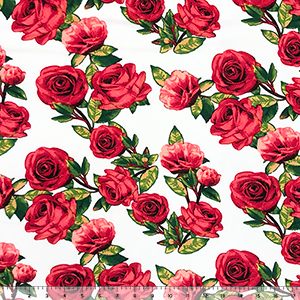 Red Pink Photo Roses on White Double Brushed Jersey Spandex Blend Knit Fabric