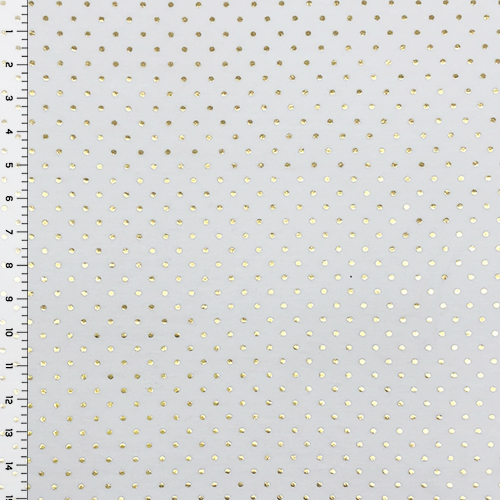 Metallic Gold Dots on White Cotton Spandex Blend Knit Fabric