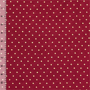 Metallic Gold Dots on Wine Red Cotton Spandex Blend Knit Fabric