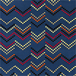 Mod Zig Zag Squares on Blue Cotton Jersey Spandex Blend Knit Fabric