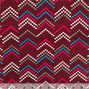 Mod Zig Zag Squares on Burgundy Cotton Jersey Spandex Blend Knit Fabric