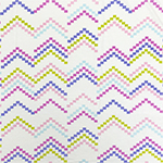Mod Zig Zag Squares on Ivory Cotton Jersey Spandex Blend Knit Fabric