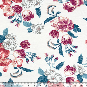 Magenta Gray Peach Floral on White Cotton Spandex Blend Knit Fabric