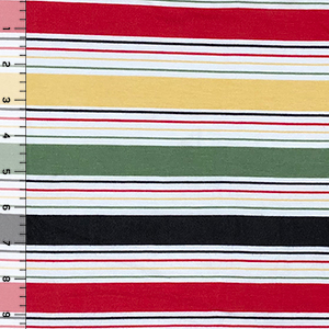Classic Black Red Retro Stripe Cotton Jersey Spandex Blend Knit Fabric