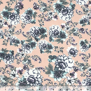 Aqua Mum Garden on Blush Pink Cotton Jersey Spandex Blend Knit Fabric
