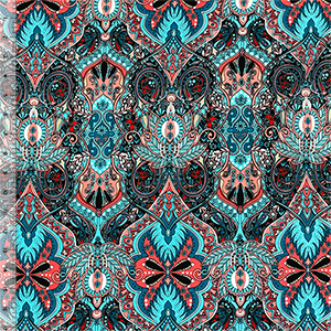 Turquoise Coral Boho Botanical Baroque Cotton Jersey Spandex Knit Fabric