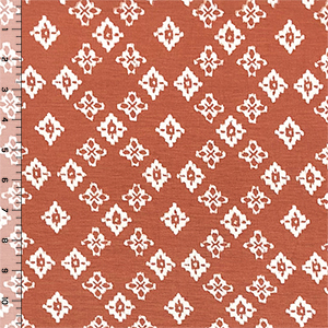 Southwest Diamonds on Dusty Clay Cotton Jersey Spandex Blend Knit Fabric