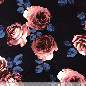 Big Mauve Photo Roses on Midnight Double Brushed Jersey Spandex Blend Knit Fabric