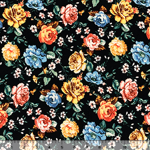Mustard Blue Rose Garden on Black Double Brushed Jersey Spandex Blend Knit Fabric