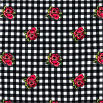 Red Roses on Black White Check Double Brushed Jersey Spandex Blend Knit Fabric