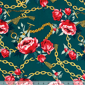 Big Red Roses Gold Tassel Chains on Forest Double Brushed Jersey Spandex Blend Knit Fabric