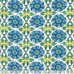 Blue Yellow Watercolor Tile Cotton Jersey Spandex Blend Knit Fabric