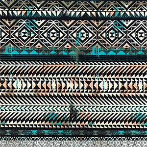 Peach Teal Vintage Aztec Rows Cotton Jersey Spandex Knit Fabric