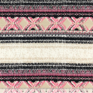 Pink Black Vintage Diamond Dot Rows Cotton Jersey Spandex Knit Fabric