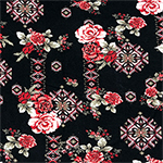 Red Blush Roses Floral Tiles On Black Cotton Jersey Spandex Blend Knit Fabric