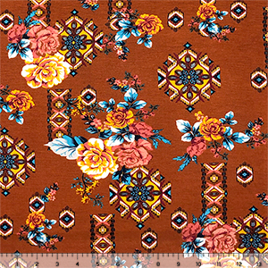Gold Coral Roses Floral Tiles On Terracotta Cotton Jersey Spandex Blend Knit Fabric