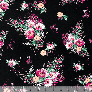 Fuchsia Peach Small Bouquets on Black Cotton Jersey Spandex Blend Knit Fabric