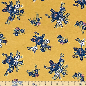 Retro Blue Caramel Floral on Dusty Gold Cotton Jersey Spandex Blend Knit Fabric