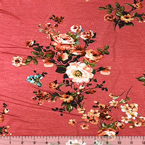Coral Orange Floral on Coral Pink Cotton Jersey Spandex Blend Knit Fabric