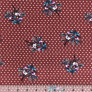 Half Yard Magenta Teal Floral Sprig on Marsala White Dot Cotton Jersey Spandex Blend Knit Fabric