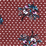 Magenta Teal Floral Sprig on Marsala White Dot Cotton Jersey Spandex Blend Knit Fabric