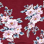 Big Lilac Floral on Wine Cotton Jersey Spandex Blend Knit Fabric