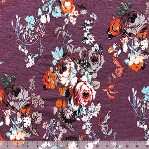 Half Yard Pink Aqua Vintage Floral on Plum Cotton Jersey Spandex Blend Knit Fabric