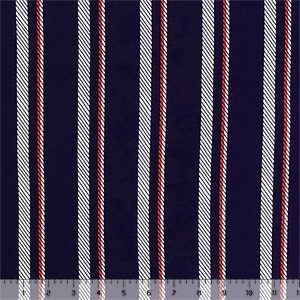Vertical Nautical Rope Stripe On Navy Double Brushed Jersey Spandex Blend Knit Fabric