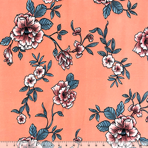 Mauve Slilver Floral on Peachy Coral Double Brushed Jersey Spandex Blend Knit Fabric