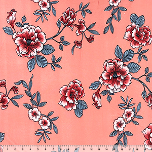 Red Silver Floral on Peachy Coral Double Brushed Jersey Spandex Blend Knit Fabric