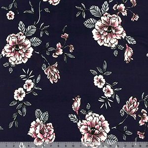 Pink Silver Floral on Midnight Blue Double Brushed Jersey Spandex Blend Knit Fabric
