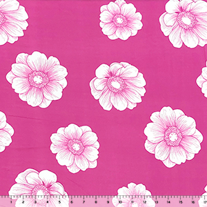 Big Peony Flowers on Hot Pink Double Brushed Jersey Spandex Blend Knit Fabric