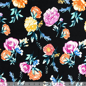 Bright Photo Floral on Black Double Brushed Jersey Spandex Blend Knit Fabric