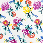 Bright Photo Floral on White Double Brushed Jersey Spandex Blend Knit Fabric