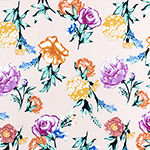 Bright Photo Floral on Blush Double Brushed Jersey Spandex Blend Knit Fabric
