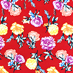 Bright Photo Floral on Red Double Brushed Jersey Spandex Blend Knit Fabric