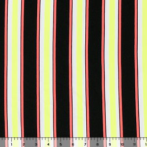 Neon Yellow Orange Black Vertical Stripe Double Brushed Jersey Spandex Blend Knit Fabric