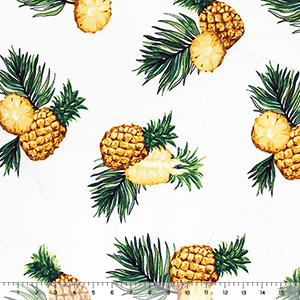 Big Gold Pineapples On White Double Brushed Jersey Spandex Blend Knit Fabric