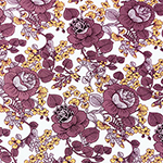 Chalky Plum Mod Botanical Floral on White Double Brushed Jersey Spandex Blend Knit Fabric