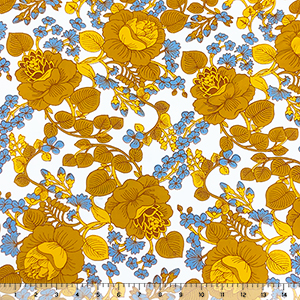 Marigold Mod Botanical Floral on White Double Brushed Jersey Spandex Blend Knit Fabric