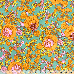 Sherbet Orange Mod Botanical Floral on Aqua Double Brushed Jersey Spandex Blend Knit Fabric