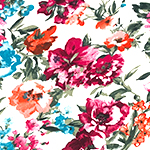 Teal Fuchsia Watercolor Flowers on White Double Brushed Jersey Spandex Blend Knit Fabric