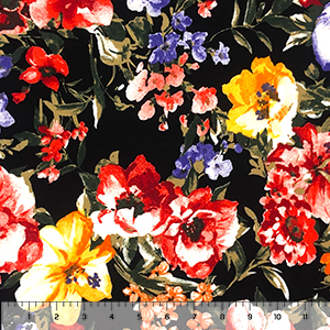 Red Orange Watercolor Flowers on Black Double Brushed Jersey Spandex Blend Knit Fabric