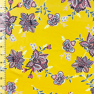 Mauve Boho Floral on Gold Double Brushed Jersey Spandex Blend Knit Fabric