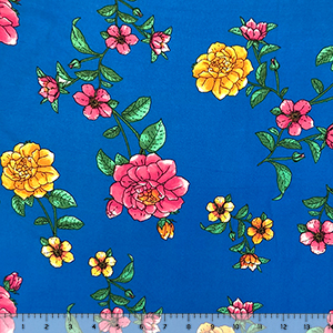 Painted Floral on Royal Blue Double Brushed Jersey Spandex Blend Knit Fabric