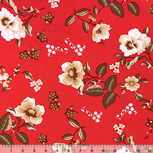 Cafe White Floral on Poppy Red Double Brushed Jersey Spandex Blend Knit Fabric