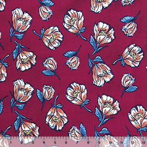 Teal Caramel Poppy Floral on Burgundy Double Brushed Jersey Spandex Blend Knit Fabric