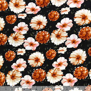 Painted Brown Pink Mum Floral on Black Double Brushed Jersey Spandex Blend Knit Fabric