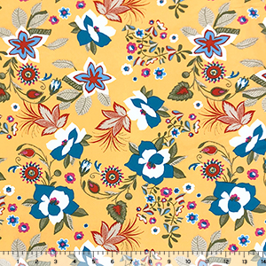 Blue Red Retro Floral on Marigold Double Brushed Jersey Spandex Blend Knit Fabric